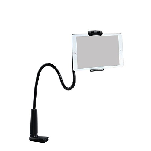 ZUYEE Gooseneck Lazy Mount for iPhone iPad Stand Tablet Mount Holder Cellphone Stand Bolt Clamp with Spring Girp for Smartphone or Tablet Devices 4-10.1
