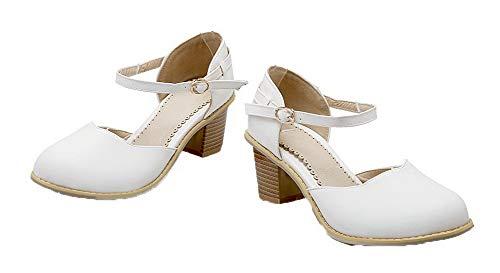 GMMDB006847 Donna AgooLar Tonda Flats Puro Ballet Luccichio Fibbia Bianco Punta pqqnr8vd