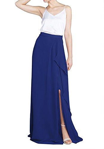 CoutureBridal? Femme Jupe de Plage Longue t Split Haute Taille pour Soire Mariage Elgante Maxi Chiffon Blau Saphir