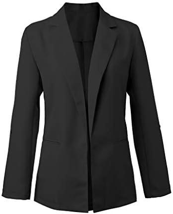 Nmch femmes à manches longues Blazer solide court Cardigan costume veste dames affaires travail bureau manteaux