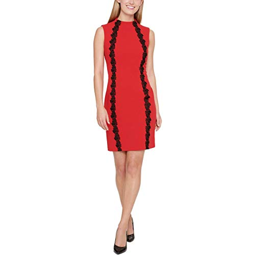 Tommy Hilfiger Women's Sleeveless Scuba Crepe Dress with Lace Embellishment, Scarlet, 16