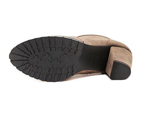 European Style Frauen-Knoechel-Zipper Short Martin Stiefel Low-flache Ferse-Bootie Schuhe Braun