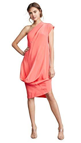 Zero+Maria Cornejo Women's One Shoulder Loop Dress, Coral, Pink, 4