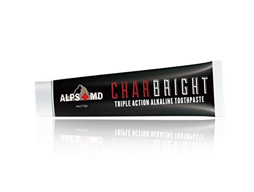 CHARBRIGHT Alkaline Charcoal Toothpaste - Organic Coconut Teeth Whitening Paste For a Brighter Smile, Healthy Gums & Fresh Breath -Natural Anti-Plaque Polishing Tooth Paste, Non-Fluoride & Non-Paraben