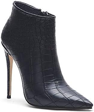 حذاء برقبة حتى الكاحل - حذاء شتوي أبيض بيج حريمي مدبب من الفرو دافئ حذاء أنيق مناسب للارتداء في الخريف برقبة قصيرة للنساء مع مقاس إضافي 45 (أسود مع فرو 6. 5)