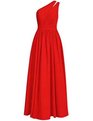 Cdress Une Épaule Robes De Demoiselle D'honneur Longues Robes De Soirée De Bal Maxi En Mousseline De Soie Rouge Mariage