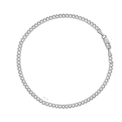 Ritastephens 14k White Gold Curb Chain Anklet Bracelet 10 Inches