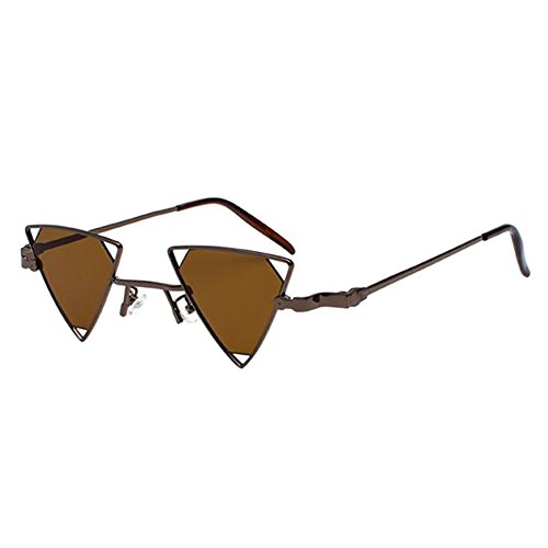 Eyewear Deylaying Lunettes Rétro Métallique Sunglasses Femme Polarisées Soleil Pour Homme Triangle UV400 Marron Miroité de vrHvW5q4