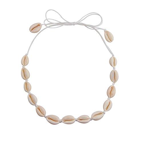 Hawaiian Shell Necklace - QIIER Shell Choker Necklace Cowrie Hawaiian Shell Bead Necklace Beach Choker for Girls (01)