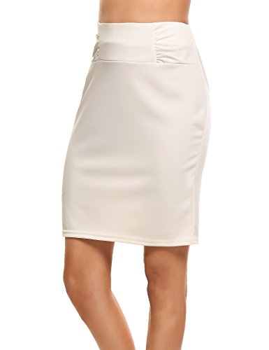 (Zeagooo Petite High Waist Stretch Pencil Skirt with Shirred Waist Detail White)