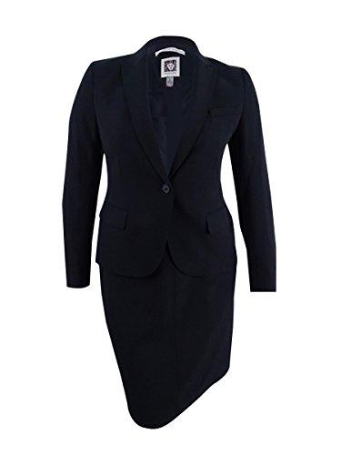 Anne Klein Women's Single-Button A-Line Skirt Suit (2, Black)