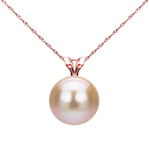 - 14k Rose Gold 8-8.5mm Pink Round Freshwater Cultured Pearl Rope Chain Pendant Necklace, 18