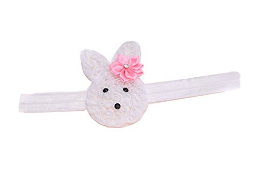 Baby Grils Headband Bunny Rabbit Ears with Satin Flowers for Easter Day Gift JHE02 (White-Pink)