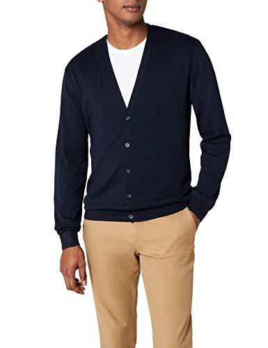 Henbury Mens V Neck Button Fine Knit Cardigan (M) (Navy)