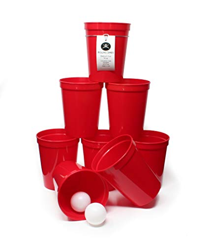Rolling Sands 16oz Reusable Plastic Stadium Cups Beer Pong (8 Pack, Made in USA, BPA-Free) Dishwasher Safe Plastic Tumblers