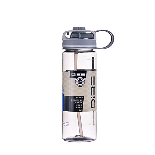 L-COOL Wide Mouth Leak-Proof Break-Resistant Sports Water Bottle with Straw and Straight Drink Bottle Mouth - 100% BPA-Free for Outdoor Hiking Camping Fitness (Gray, 600 ml / 20 oz) 24 Oz Polycarbonate Water Bottle