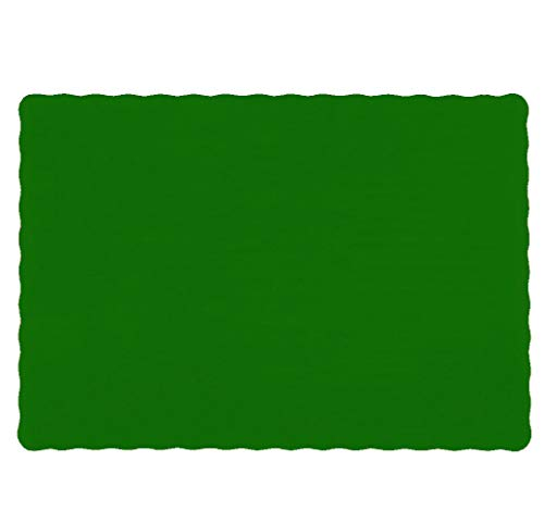 Raise Flat Disposable Paper Placemats, Scalloped Edge, 10