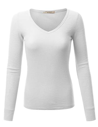 Fifth Parallel Threads Womens V-Neck Long Sleeve Thermal Top White M