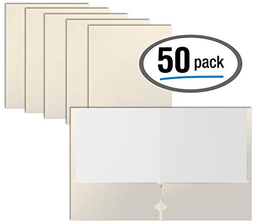Two Pocket Portfolio Folders, 50-Pack, White, Letter Size Paper Folders, by Better Office Products, 50 Pieces, White]()
