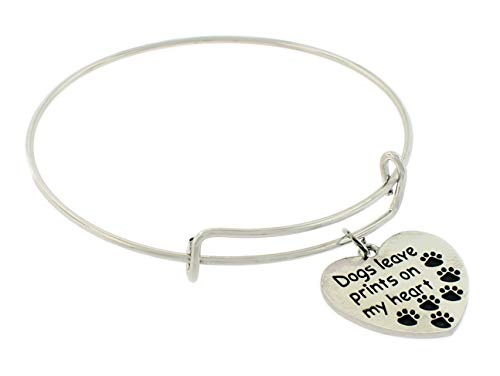 Tally Puppy Paw Prints Dog Rescue Jewelry Charm Bracelet Engraved - Dogs Leave Paw Prints on My Heart - Gift for Women and Kids