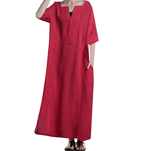 DEATU Women Dress Ladies Ethnic Simple Loose Kaftan Long Sleeve V Neck Long Maxi Dress(Red ,XXL) ()