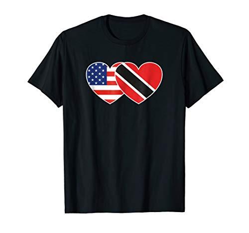 Trinidad and Tobago American USA Flag Twin Heart T Shirt ()