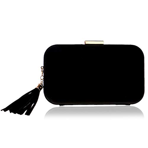 MY Women's Evening Clutches Purse Suede Velvet Tassel Pendant Crossbody Handbags for Bride Formal Wedding Party,Black