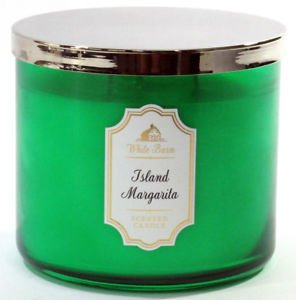 Bath and Body Works White Barn Island Margarita 3 Wick Scente Candle with Silver Lid Green Jar 14.5 Ounce