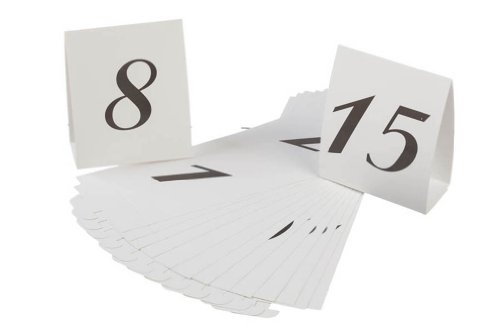 Darice VL2016A 1-15 Table Reservation Number Tents Place Card, White, 15-Pack