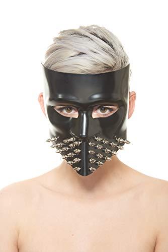 Bauta Style Steampunk Masquerade Halloween Masks (Black Bauta Face Mask with Silver -