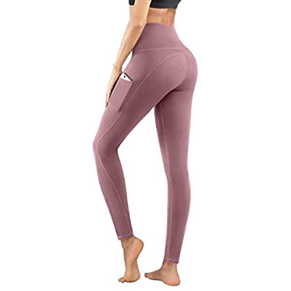 PHISOCKAT High Waist Yoga Pants with Pockets, Tummy Control Leggings for Women, Workout 4 Way Stretch Yoga Leggings 31LzSWio 2BmL