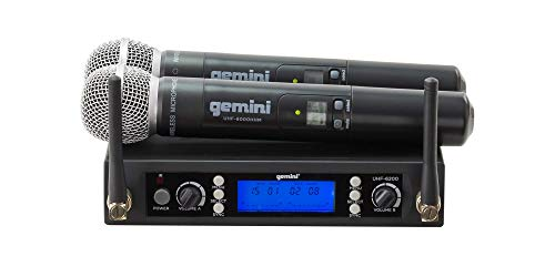 Gemini Lightweight Wireless Microphone System with UHF Dual Channel Receiver, 2 Handheld Microphones
