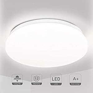 LED Ceiling Light Bathroom Lights Ceiling 18W Ceiling Lights Fitting, TECKIN 4500K Natural White 28cm Round Flush Mount Lamp for Kitchen Bathroom Bedroom Hallway Office Living Room