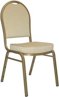 HERCULES Series Dome Back Stacking Banquet Chair with 2.5'' Thick Seat Beige Patterned/Gold Frame/Fabric