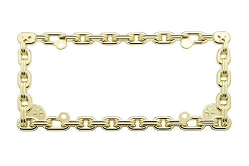 CLA Chain Link Star Metal License Plate Frame - Gold