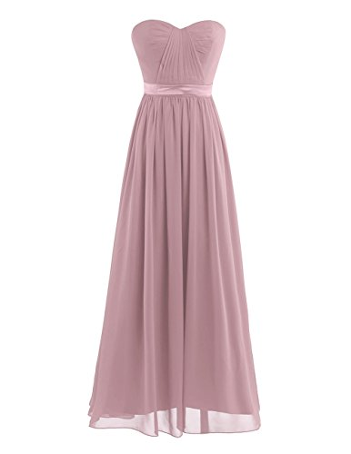 YiZYiF Chiffon Pleated High-Waisted Empire Bridesmaid Dress Long Evening Prom Gown Dusty Rose 4
