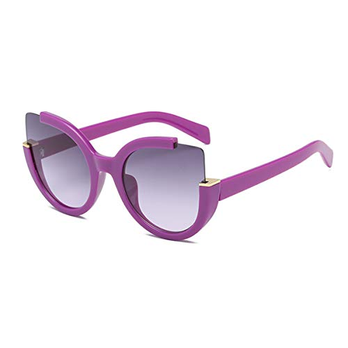 Supertrip Womens Fashion Oversized Round Square Plastic Vintage Cut-Out Flash Mirror Lens Cat Eye Sunglasses (Purple-grey) ()
