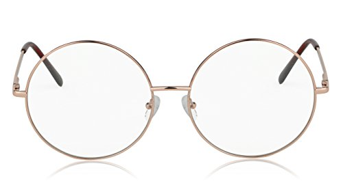 Non Prescription Hipster Glasses Vintage Retro Circle Frame Clear Eyeglasses ()