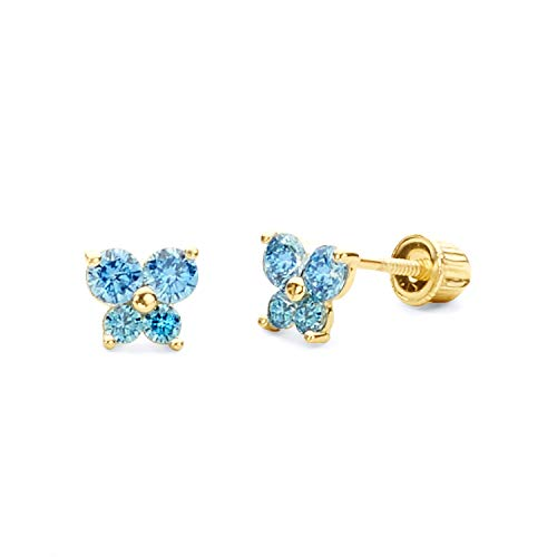 14k Yellow Gold Butterfly Stud Earrings with Screw Back - Gold Childrens Butterfly Earrings