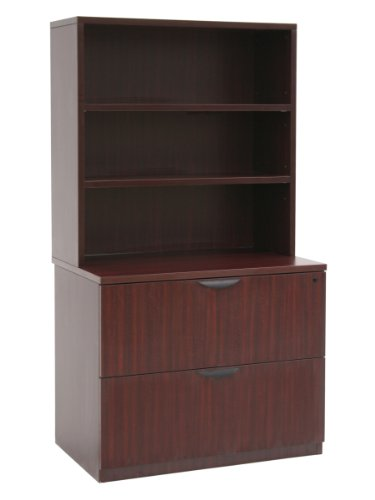 Regency Legacy Lateral File with Open Hutch- Mahogany (Mahogany Hutch Stacking)