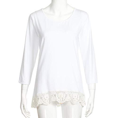 Qinmm Marino Maniche l T Solido Top Donna Pizzo Fashiom Lunghe shirt Bianco Girocollo Camicetta Camicia Ladies Casual Cuciture Camicia Blu Donne HxAHwpZr