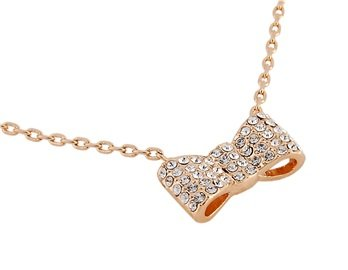 ITALINA Rolled Gold Plated Necklace with Crystal Decorated Bow Pendant ()