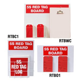 Steel Red Tag Stations - 18''h x 24''w, White 5S Red Tag Board by Emedco (Image #2)