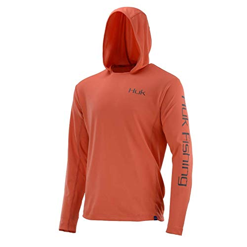 Huk H1200139-630-L Huk Icon Hoodie, Color, Size, Coral, Large -