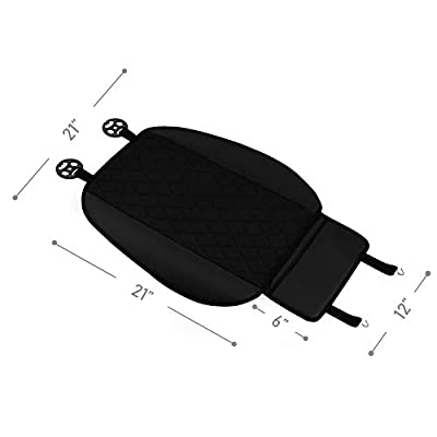 FH Group FB210102 Faux Leather/NeoSupreme Seat Cushion Pad with Front Pocket (Black) Front Set – Universal Fit for Cars Trucks & SUVs: Automotive