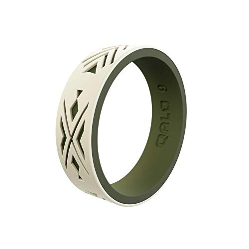 QALO Women's Strata Sand and Olive Arrowhead and Fish Silicone Ring Size 07