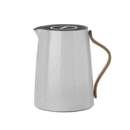 Stelton Emma Tea Vacuum Jug, Vacuum Flask, Stainless Steel with Beech Wood Handle, Light Grey, 1 L, ()