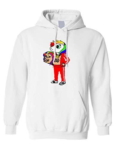 Allntrends Adult Hoodie 69 Unicorn Cool Sweatshirt Trending Fans Gift (L, White)