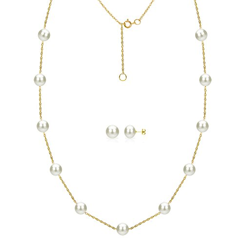 La Regis Jewelry 14k Yellow Gold 6-6.5mm White Freshwater Cultured Pearl Station Necklace and Stud Earrings ()