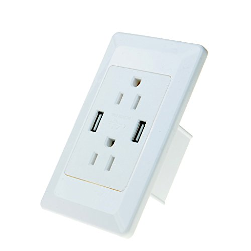 NineLeaf 1PK Dual USB Electric Adapter Dual Plug Wall Socket Outlet Power Charger for Iphone Samsung Ipad tabletPC